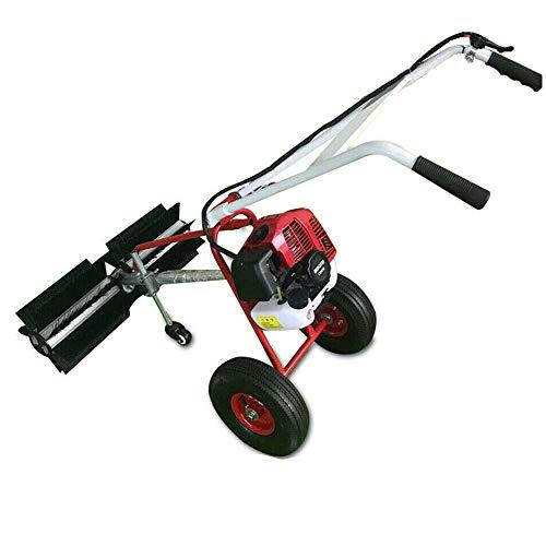 Wangkangy 1,7PS 43cc Elektro Schneefräse Kehrmaschine 2 Takt Benzin Kehrmaschine mit Kehrbesen und 43cc Hubraum Schneeschieber Besen, Elektrostarter Schneeschieber Motorbesen