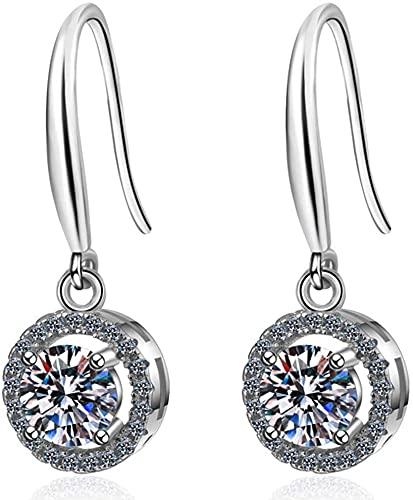 LSWKG Pendientes para Mujeres Dedge 925 Sterling Silver, 1,0 CT Moissanite Drop Pendant Declaración Joyería, Boda Promesa