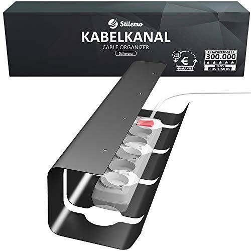 Kabelkanal Schreibtisch für Ordnung am Arbeitsplatz - Kabelmanagement Schreibtisch - Kabelhalter Kabelwanne Tisch - Kabelkanal schwarz - 43 x 12 x 10 cm