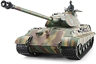 Heng Long Pro Edition German King Tiger (Porsche) RC Tank, Remote Control 2.4Ghz 1/16 Scale RC Main Battle Tank with Metal Gear Tracks, Airsoft RC Tank