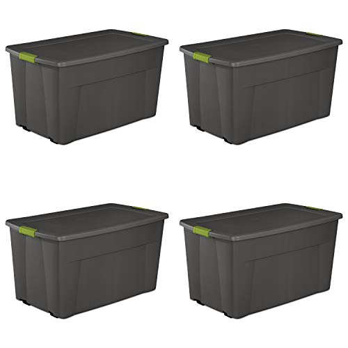 Sterilite 19483V04 45 Gallon/170 Liter Wheeled Latch Tote, Flat Gray with Soft Fern Latches and Black Wheels, 4-Pack