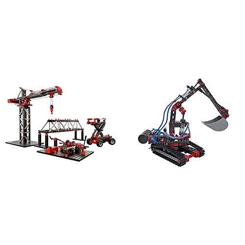 fischertechnik Experimentierbaukasten Mechanic + Static 2 - der optimale Technik Baukasten & Pneumatic Power - der Pneumatik Spielzeug Bagger & 4 weitere Modelle Spielspaß