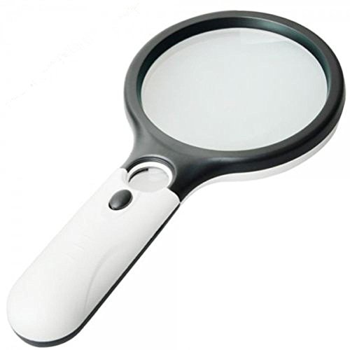 Magnifier 3 LED Light, Marrywindix 3X 45X Handheld Magnifier Reading Magnifying Glass Lens Jewelry Loupe White and Black