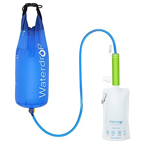 Waterdrop Wasserfilter-Strohhalm mit Gravity-Wasserbeutel, Tragbares Camping-Filtersystem, Trinkwasser-Reinigungsgerät für Notfälle, Wandern, Reisen, Backpacking (Grün)