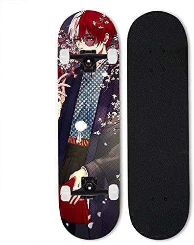 Todoroki shood Skateboard mi héroe académico Skateboard d Arce 7 Capas Completo patineta Cuatro Ruedas monopatín Doble inclinación Plena monopatín D