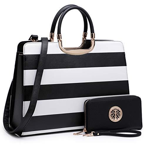 Women's Fashion Handbag Shoulder Bag Hinged Top Handle Tote Satchel Purse Work Bag with Matching Wallet (2-saffiano Black Stripe Wallet Set)