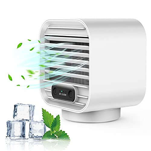Portable Air Conditioner, Zeato Mini AC Personal Air Cooler, 2000 mAh Rechargeable USB Mobile Cooling Fan Evaporative Cooler with 3 Speeds Leakproof Design for Home, Office, Car, Camping – White