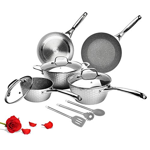 LovoIn 11-Piece Non-Stick Hammered Cookware Set, Marble Ceramic Nonstick Pot & Pan Set Induction, Dishwasher/Oven/Stovetop Safe, Gray