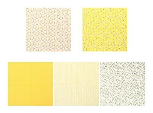 LIXBD 5 x Fat Quarters Stoffbündel Textilien Baumwolle Stoff DIY Handarbeit Quilten Stoff Nähen Basteln DIY Handwerk Patchwork (blau) (Farbe: gelb)