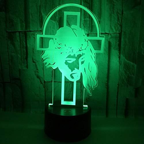 Luz de noche 3D Cruz de jesus 3D Luz de usb Led Luz de noche 7 Cambio