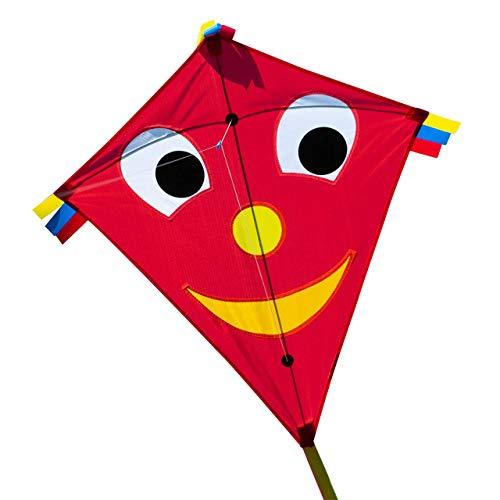 CIM Kinder-Drachen - Happy Eddy RED - Einleiner-Flugdrachen für Kinder ab 3 Jahren - 65x74cm - inkl. Langer Drachenschnur und DREI Bandschwänzen