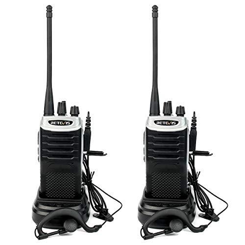 Retevis RT7 Walkie Talkie Profesional 16 Canales Alcance de hasta 4KM Función de Linterna Función FM Radio VOX CTCSS DCS Walkie Profesionales con Auriculares(1 Par, Negro y Plata)