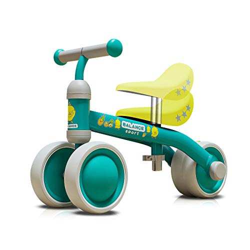 OLYSPM Bicicleta Sin Pedales para Niños 10-36 Meses,Triciclos Bebes,Correpasillos Bebes De Sillín Ajustables,Bicicleta Infantil Sin Pedales(Verde)