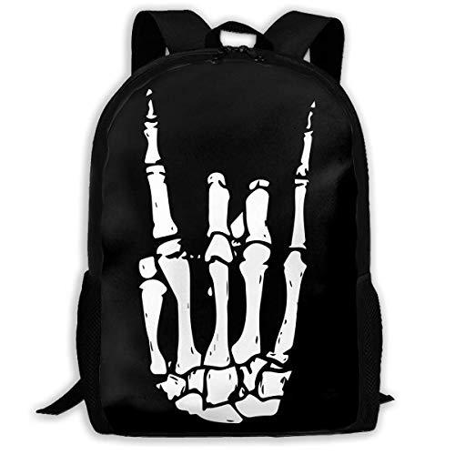 ADGBag Rock N Roll Skeleton Hand Fashion Outdoor Shoulders Bag Durable Travel Camping for Kids Backpacks Shoulder Bag Book Scholl Travel Backpack Sac à Dos pour Enfants
