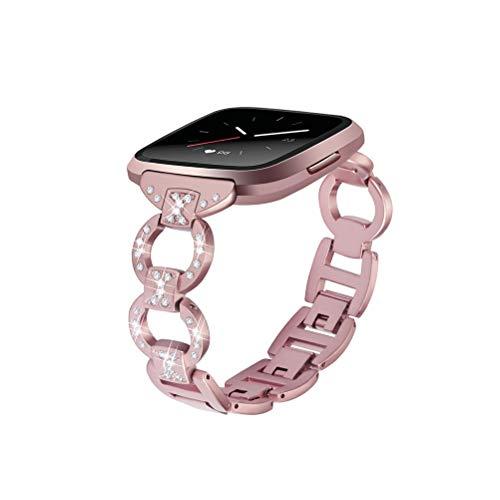 Edelstahlarmband für Fitbit Versa Uhrenarmband Bling Kette Strass Diamanten Armbänder Armband für Fitbit Versa (Rose Pink)
