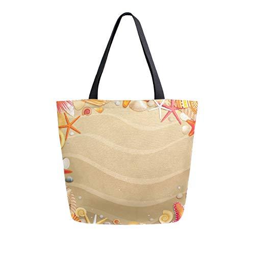Ahomy Wiederverwendbare Leinen-Einkaufstasche, tropischer Strand, Sandmuscheln, Seesterne, für Damen, Handtasche, Einkaufstasche, Arbeit, Schule