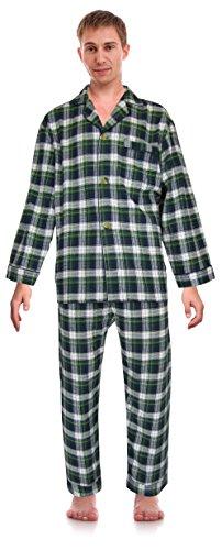 RK Classical Sleepwear Men's 100% Cotton Flannel Pajama Set, Size X-Large Green