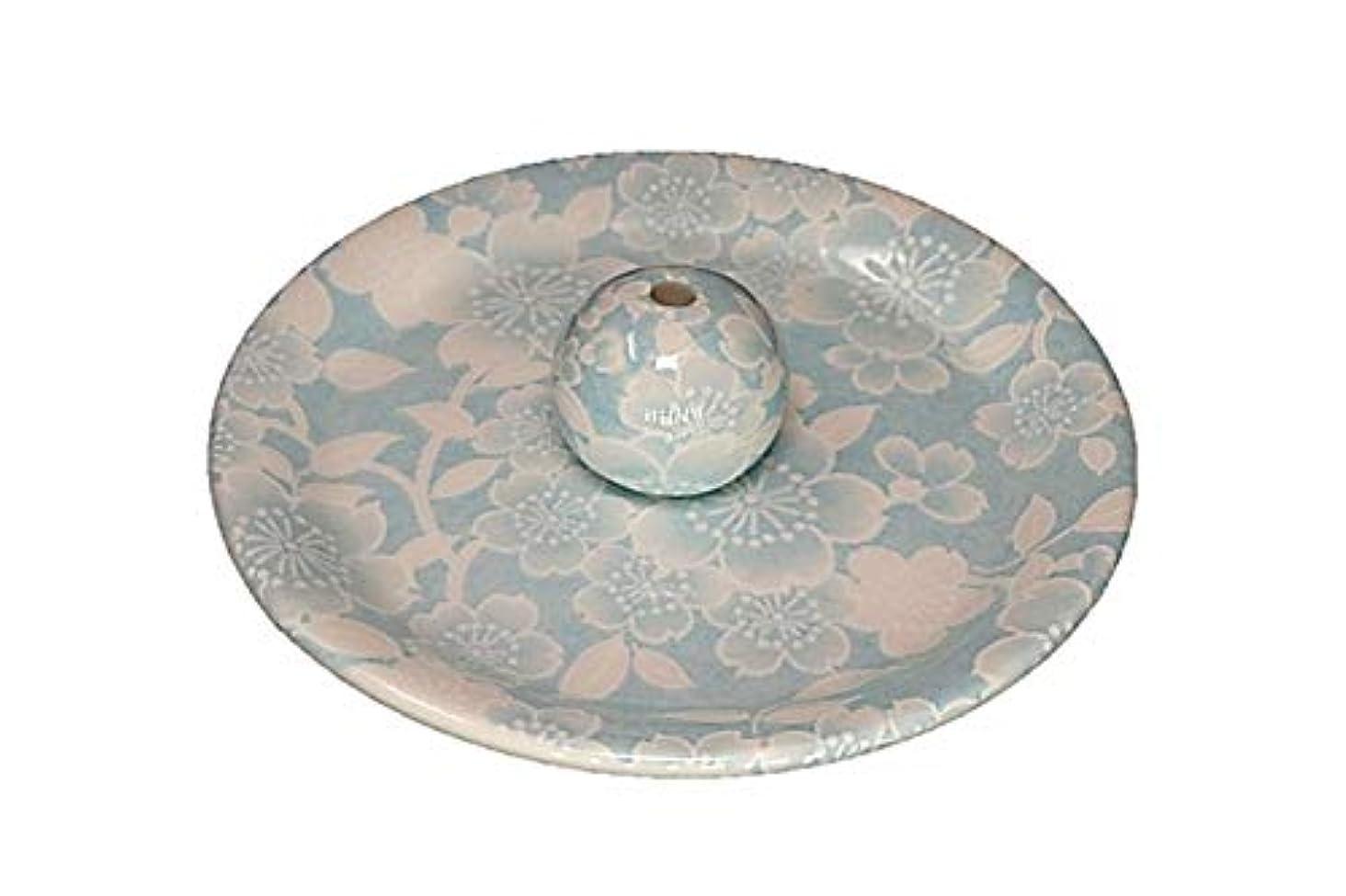 オゾン著者月曜9-36 桜友禅 水色 9cm香皿 お香立て お香たて 陶器 日本製 製造?直売品