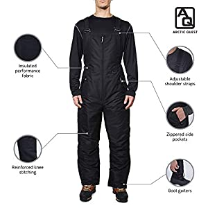 Arctic Quest Mens Insulated Water Resistant Ski Snow Bib Pants, Black, 2X