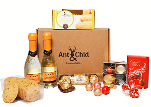 Canti Prosecco White Wine with Assorted Chocolates Luxury Hamper Bundle Gift Set