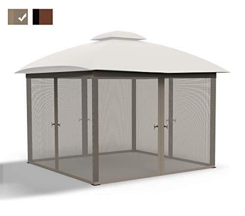 COZYVIDA Gazebo Mosquito Netting Screen 4-Panels Universal Replacement for Patio, Outdoor Canopy, Garden and Backyard (Only Netting Sidewalls) (12' x 12', Grey)