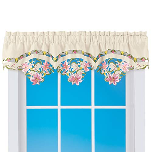 Collections Etc Embroidered Decorative Cutwork Lilies Window Valance