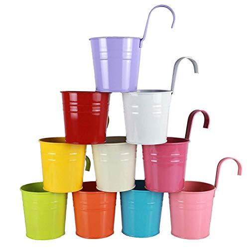 Alicemall 10pcs Pots de Fleur Colorées Pot à Suspendre Jardin Vase Métal Décoration Balcon