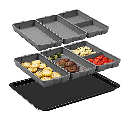 Zip Standing Nonstick Silicone Baking Sheet Pan, Siliconebaking trays Dividers, Suitable for oven, air fryer to simplify cooking, Safe to use and easy to clean.(7 gray)