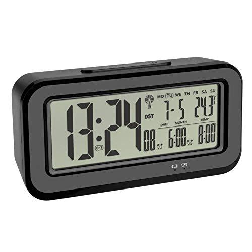 TFA Dostmann Digitaler Funk-Wecker BOXX, mit Innentemperatur, per USB aufladbar, Kunststoff, schwarz, L 142 x B 45 x H 73 mm