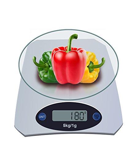 Broslooth Balance de Cuisine Electronique 5kg/1g Balance de Cuisine Précision Balance Alimentaire Digitale Tactile Sensible Verre Écran LCD Rétroéclairé Argent