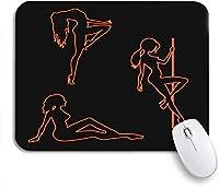 ROSECNY 可愛いマウスパッド シルエットのネオンポールダンサーセクシーな女の子エロティックシンボル滑り止めラバーバッキングマウスパッドノートブックコンピュータマウスマット
