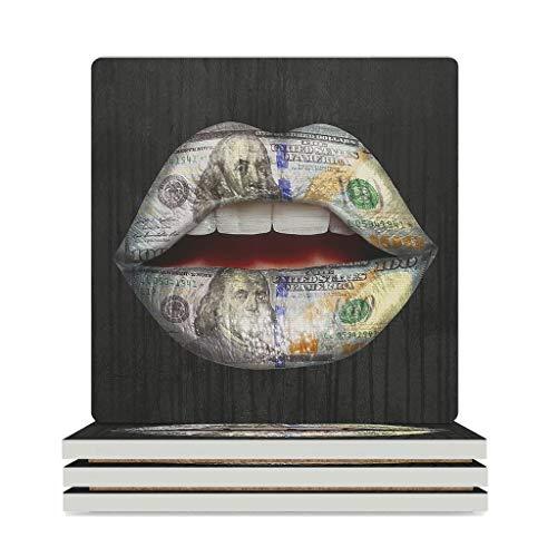 Fineiwillgo Posavasos de cerámica Dollar Lips antideslizante, posavasos de cerámica con base de corcho, decoración para tazas del hogar, 9,4 x 9,4 cm, color blanco, 4 unidades