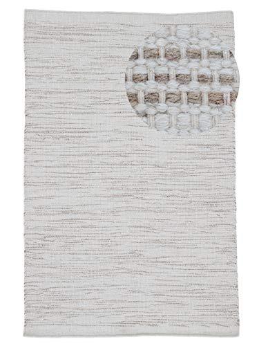 carpetfine Wollteppich Mona Creme 120x170 cm | Moderner Teppich für Wohn- und Schlafzimmer