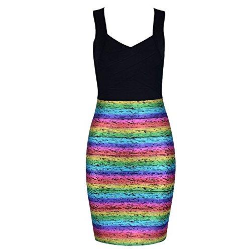 SHUCHANGLE Bendaggio Poliestere Donna Summer Party Dress Scollo A V Senza Maniche Abiti,A,M