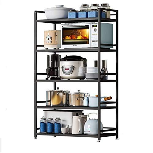 Kitchen Storage Rack, Kitchen Baker Kitchen Rack Floor Multi-Layer Microwave Oven Rack Oven Storage Supplies Rack Pot Rack Household Shelf Standing Baker's Racks (Color : Black, Size : 155×39.7x80cm)