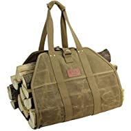 INNO STAGE Fire Wood Log Carrier Tote Bag, Waxed Canvas Hay Hauling for Fireplace, Round Woodpile Carrying for Tubular Stand by Hearth Stove or Outdoor Camping