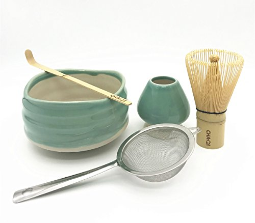 CHAQI Matcha Accessories Kit Include 5 items-100 Prongs Bamboo Whisk Chasen,Bamboo Scoop,Stainless Steel Tea Filter and Ceramic Matcha Bowl & Whisk Holder (Green)