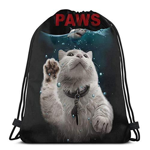 LAKILAN Zampe Cat Parody Jaws Borsa da Cinch,Borsa da Viaggio,Borsa di Stoccaggio,Zaino String,Zaino con Corde,Zaino Draw Rope