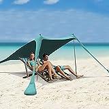 Tenda da spiaggia pop-up, tenda da spiaggia per la famiglia, parasole portatile UPF50+ con borsa per il trasporto, per campeggio, viaggi, pesca, cortile, picnic (blu, 17 x 19 m, 2 poli)