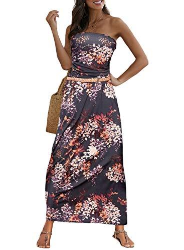 Alaster Queen Women's Off Shoulder Floral Dress Flowy Bohemian Long Dress Bandeau Empire Waist Maxi Dress with Pockets