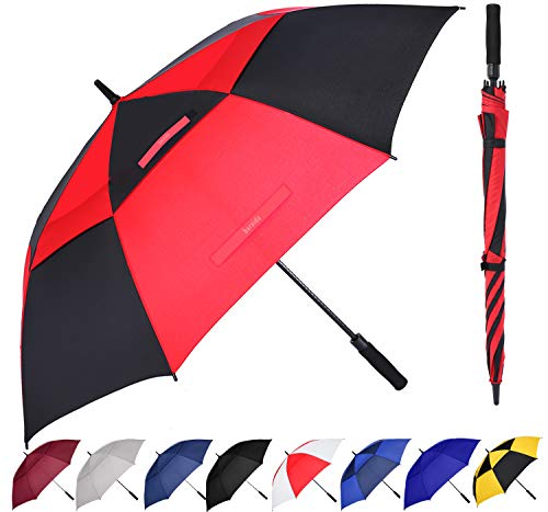 BARAIDA Golf Umbrella Large 54/62/68 Inch, Extra Large Oversize Double Canopy Vented Windproof Waterproof Umbrella, Automatic Open Golf Umbrella for Men and Women and Family(68 inch,Red Black)