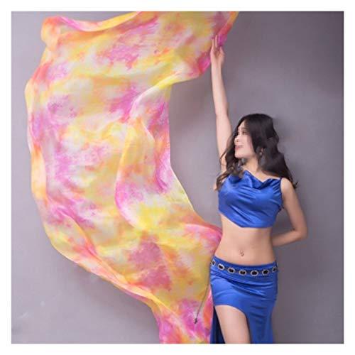 Jybhsh Velo Ligero Seda Belly Dancer Mano Tirar Bufanda Bufanda Chal Velo Seda 200 Cm 250 Cm 270 Cm Etapa Rendimiento 13 Colores (Color : 12 Colour, Size : 1pcs 2.5M x1.14M)