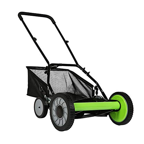 TRY & DO 16-Inch Manual Reel Mower Adjustable 5-Blade Push Lawn Mower w/Removable Grass Catcher (Four Wheeled)