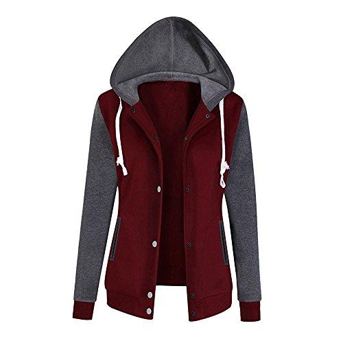 Geili Damen Sweatshirtjacke Herbst Frühling Warm Langarm Kapuzenpullover Mode Farbblock Baseball Mantel Baumwolle Velvet Sweatshirt Bluse