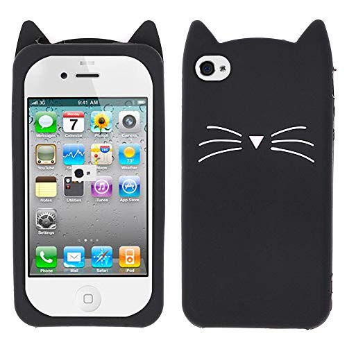 BEFOSSON Cute 3D Cartoon Kitty Cat Case for iPhone 4 / iPhone 4S (4.0 inches), Kawaii Funny Animal Black Meow Cat Ear Soft Silicone Rubber Phone Cover Case for iPhone 4 / iPhone 4S for Girls(Black)