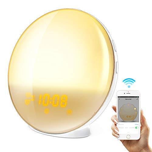HoMii lichtwekker, Alexa en Google Home, intelligent licht, 7 gekleurde zonsopgangssimulatie en met vervagende zonsondergang, FM-radio, USB-oplaadpoort
