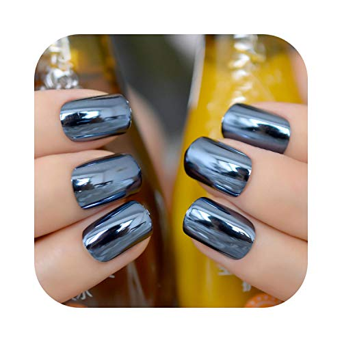Pegatinas de uñas de diseñador Espejo Plata Uñas postizas Punta Puntas de uñas de acrílico metálico 24pcs / kit Fácil para el uso diario-Navy blue-