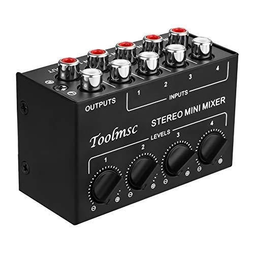 ステレオミニミキサー、Toolmsc RCA 4チャンネルパッシブミキサー、ライブおよびスタジオ用ステレオディスペンサー、CDプレーヤー、カセットプレーヤー、コンピューター、携帯電話、タブレット