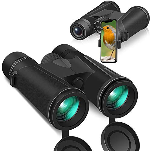 12x42 Zoom Binoculars for Adult and Kids with Smartphone Holder, 16.5mm Prism BAK4 FMC Lens 22mm Large Eyepiece HD Binoculars for Bird Watching Outdoor Sports Hunting
