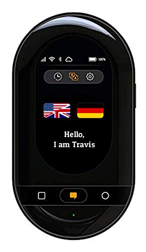 Travis Touch Go Smart Pocket Translator - 155 Languages, eSIM, Two Way Translations, Touch Screen, Hotspot (Black)